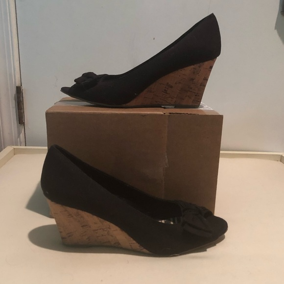 American Eagle Shoes - Black open-toed wedges